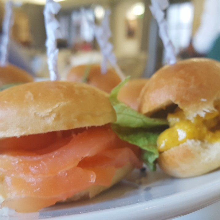 Mini brioche rolls were served with traditional fillings. Smoked salmon and coronation chicken were only two!