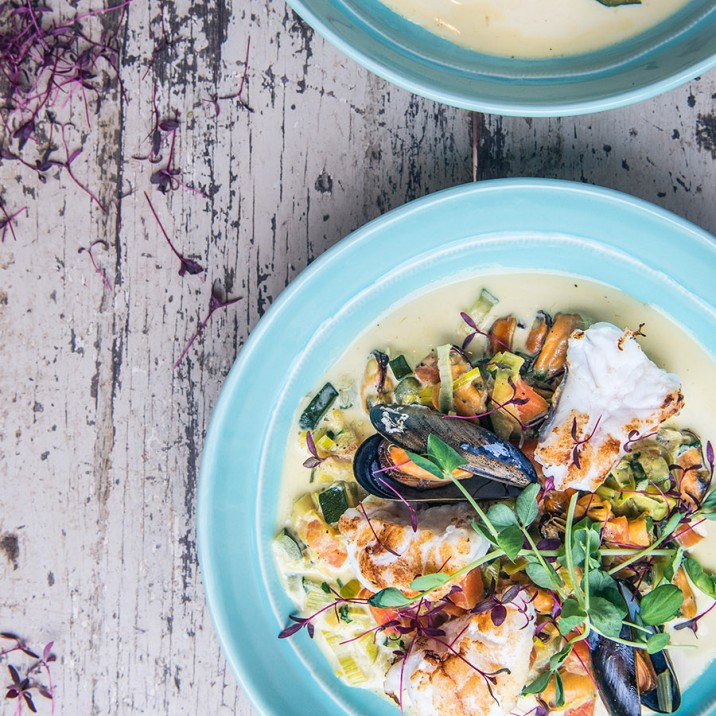 This monkfish tail and mussel broth packs a real flavoursome punch!