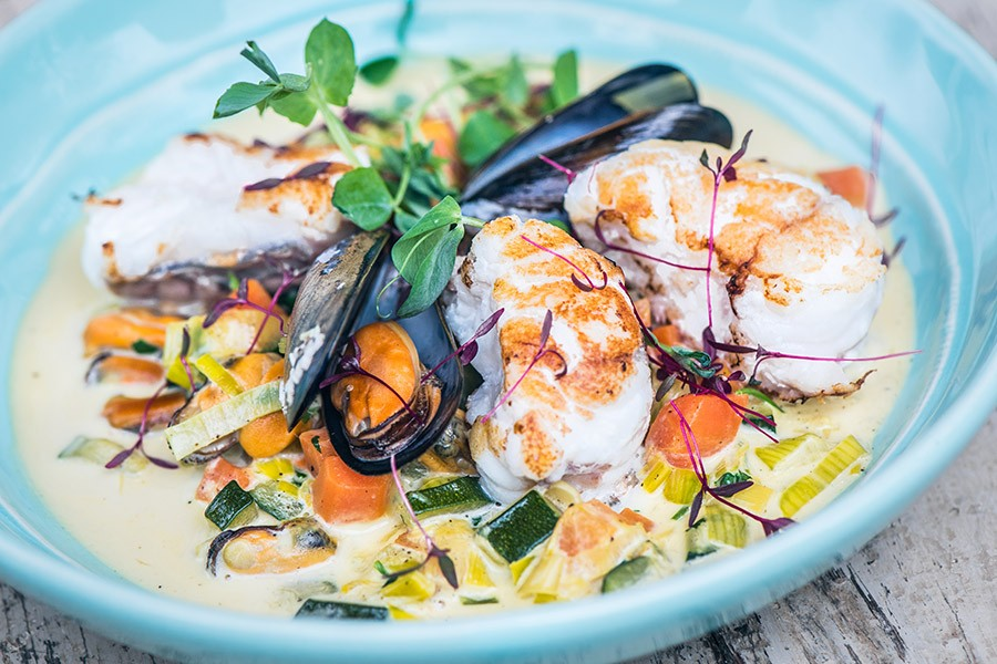 Roast monkfish tail and mussel broth recipe fish george for Monk fish recipes