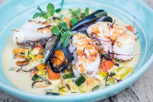 Roast Monkfish Tail and Mussel Broth
