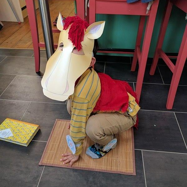 Giddy up! Hari looks brilliant as The Little Wooden Horse from his favourite story.