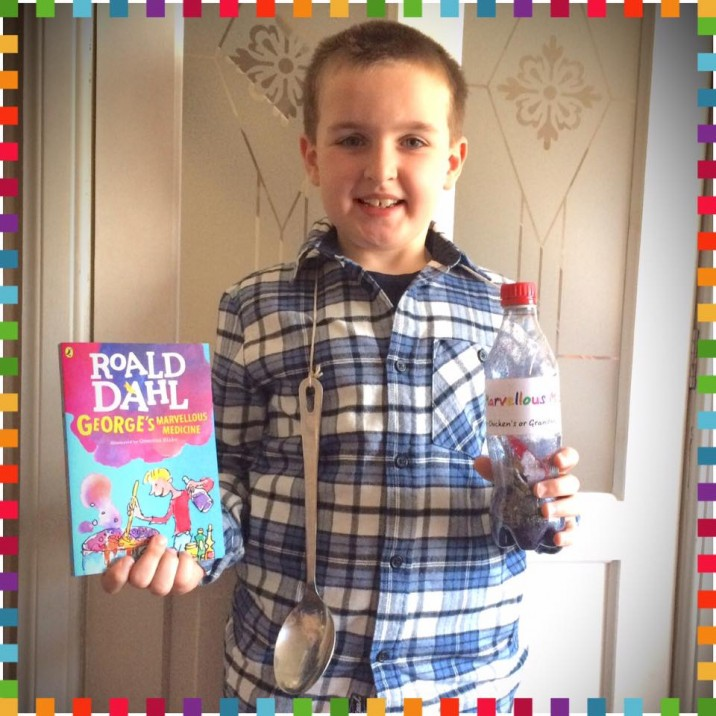 Lewis as George with his Marvellous Medicine!