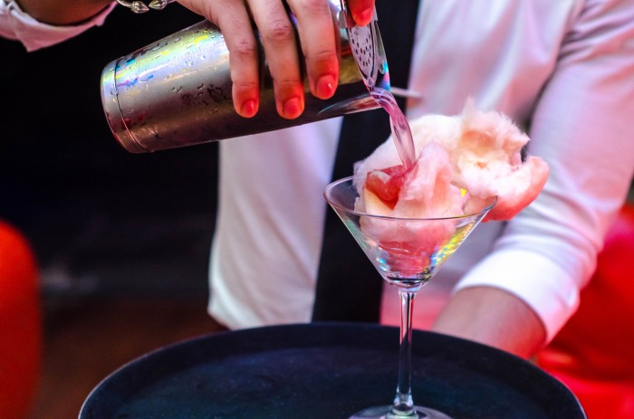The Candyfloss Martini available from the new cocktail menu at Roca Blu