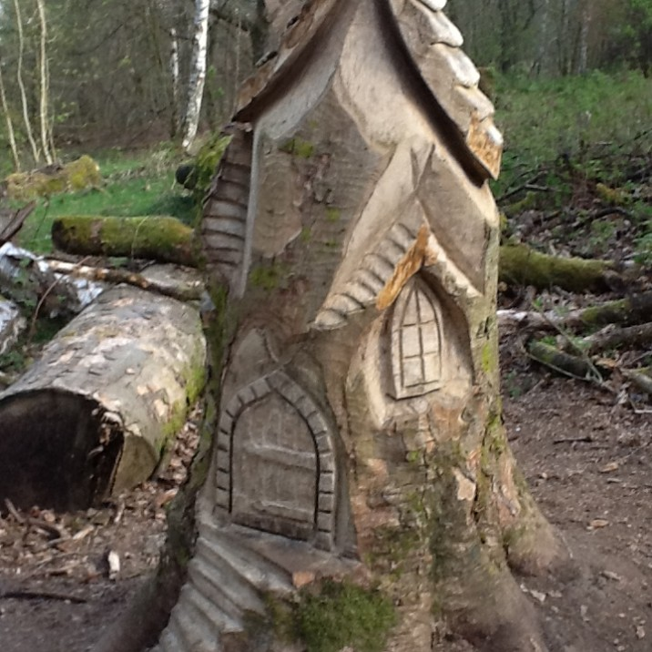 Beautiful fairy house carved into a tree at Kinnoull Hill in Perth.