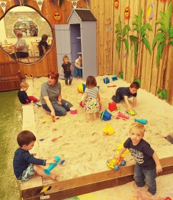 Glendoick Garden Centre have nailed it with their new kids facilities; a state of the art playpark, bouncy castle, reading den and indoor beach.