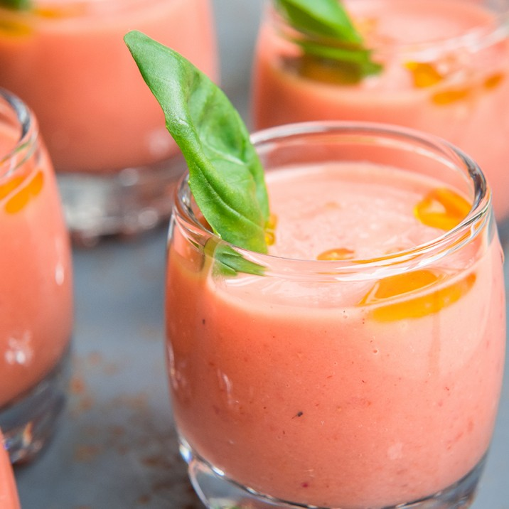This tasty strawberry gazpacho is super refreshing!