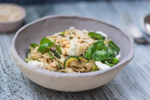 Gill has been out foraging in her garden and rustled up this  healthy home-made courgette, broad bean and goats cheese pasta.  It's deliciously moreish and bound to become a new family favourite!