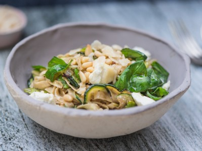 Courgette, Broad Bean and Goat's Cheese Pasta