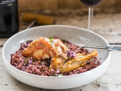 Red Wine Risotto with Pan Fried Guinea Fowl