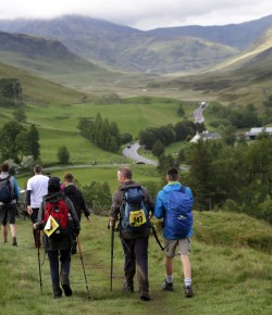 The Yomp (a military term for a long-distance march) is an epic adventure challenge. Teams of 3-6 people take on 54 miles (gold) in 24 hours across the rugged terrain of the Scottish wilderness. There is also a 36 (silver) or a 22 (bronze) mile option.