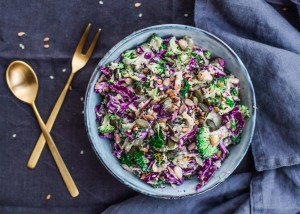 This delicious vegetarian winter salad  is a great healthy dinner side or as a dinnertime addition we served it with grilled salmon and it was delish!