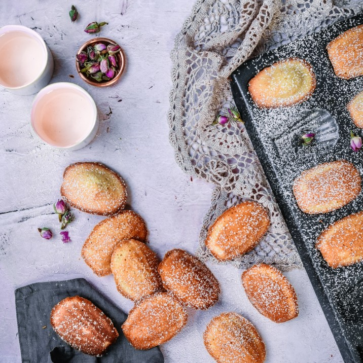 Tasty homemade rum infused madeleines.