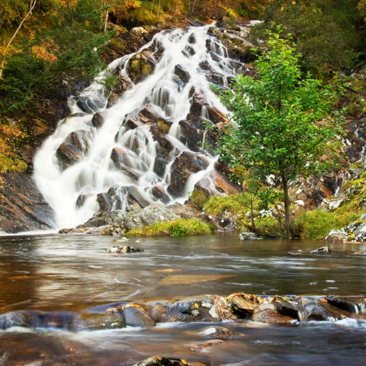 Vast fast flowing waterfalls in scenic Perthshire