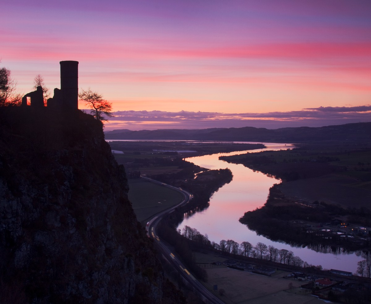 Red sky at night brings Shepherds delight from a high mountain in rural Perthshire