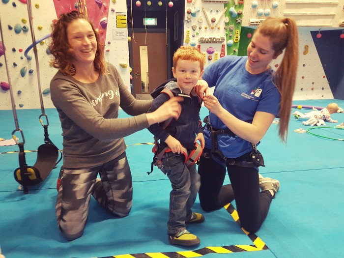 Toddler climbing Alex harness
