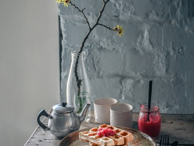 Rhubarb Waffles with Compote