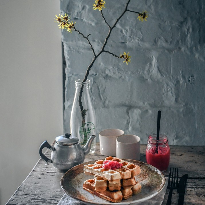Rhubarb Waffles and Compote