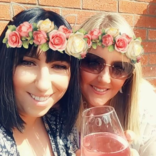 Nicola Kerr Me and  Andrea McFadyen enjoy the summer sun! Best way to spend Summer is with wine and friends