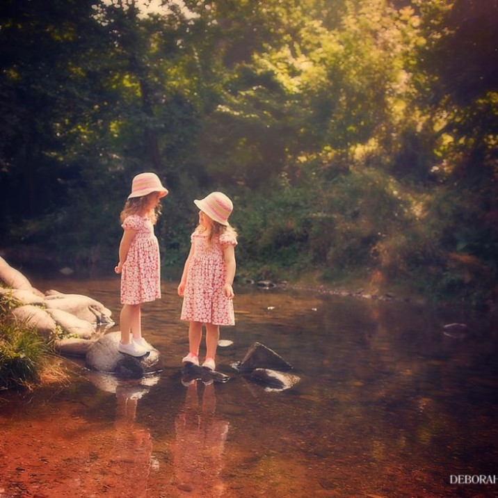 Girls standing on stepping stonesThis was taken at Quarrymill – Cafe a favourite with my girls