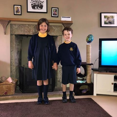 A sibling duo: Sarah is off to p5, as Ben starts school for the first time!