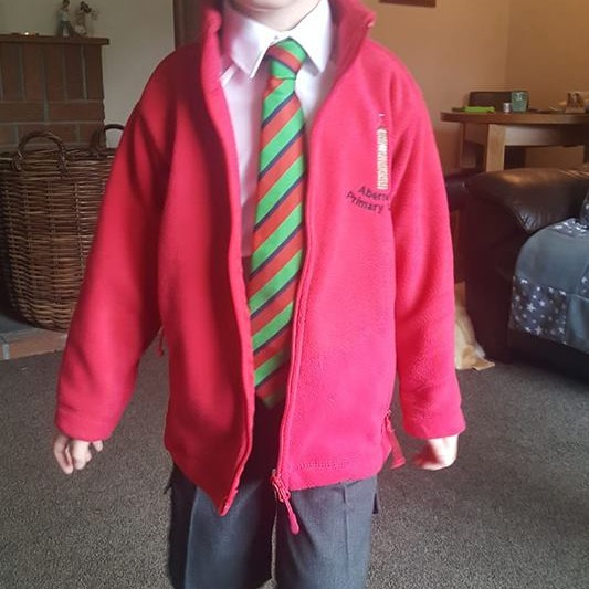 James starting primary one at Abernethy Primary school, Perthshire