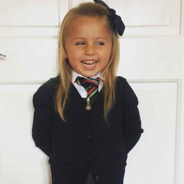 Zoey Crockatt starts her first day as a Primary one at Robert Douglas Memorial Primary School in Scone, Perthshire