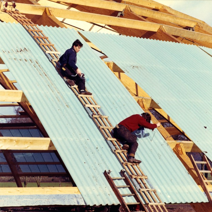 The roof of Bells Sports Centre being built 50 years ago.