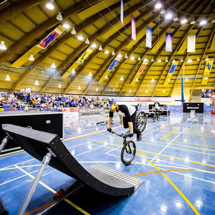 Scottish biking legend, Danny MacAskill at Bell's Sports Centre during the Comapny's 50th celebrations in 2016.