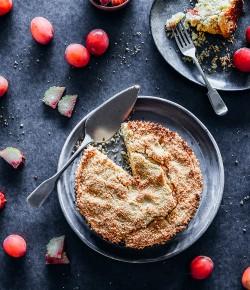 Plum and Rhubarb Crumble Cake