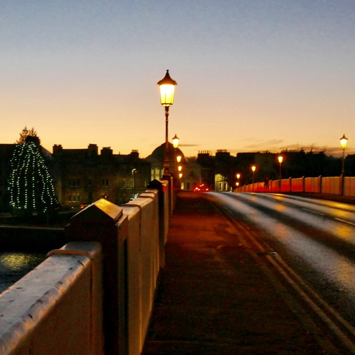 A view of  Perth Bridge known locally as the Auld Brig or Smeaton's Bridge (after the bridge engineer) in a cold December evening