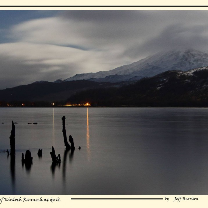 Jeff Harrison is a Perthshire based professional photographer who immerses himself in the local scenery taking fantastic images of the nature and wildlife of Perthshire. He perfectly captures the early winter scene here in Highland Perthshire, showing the snow-covered and cloud-capped Schiehallion and the bright lights of Kinloch Rannoch at dusk from across Loch Rannoch . You can view more of Jeffs work through his own website here.