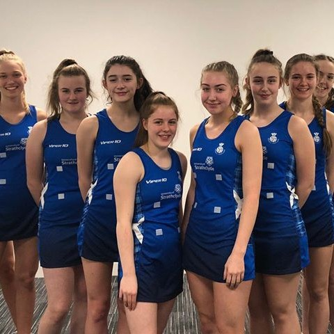 Perth netballers Cerys, Imogen and Nina competing in European Netball Championships