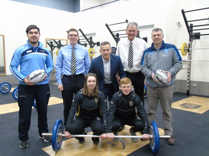 Representatives from Scottish Rugby, Perthshire Rugby and Live Active Leisure at the opening of the Strength and Conditioning Gym in Bell's Sports Centre.