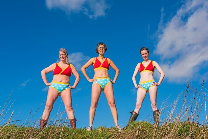 Wonder women in picture perfect pants! Menopause Café Trustees, counsellor Rachel Weiss, operations director Heather Borderie and biochemist Helen Kemp, in fabulous, empowering underwear from Molke in Perth, are ready for this year's Festival!
