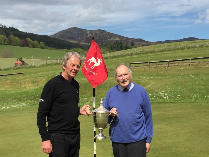 Pitlochry Golf general manager Mike Winton (left) and former tournament secretary John Brydone with the Highland Open trophy.