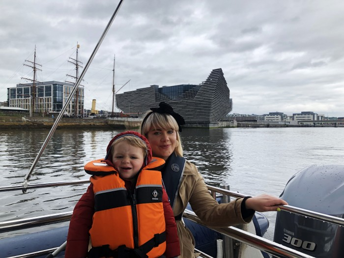 The Boating on tay trip takes a stop at the V & A Dundee where you can take in breathtaking views of the impressive V & A building designed by Japanese architect Kengo Kuma.