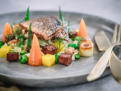 Pan Fried Sea Bass with Lemon and Mustard Dressing