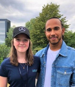 Karting star Chloe Grant meets Formula One hero Lewis Hamilton