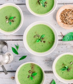 This delicious Pea, Mint and Coriander Soup recipe is gluten free, vegan and vegetarian friendly.