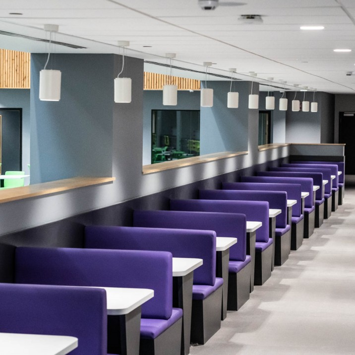 Flexible learning environments and social spaces look cool, feel comfortable and are spread throughout the school.