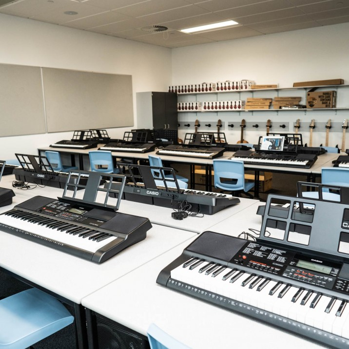 The music department boasts an impressive array of instruments, and is set up to allow creativity and imagination to flow.