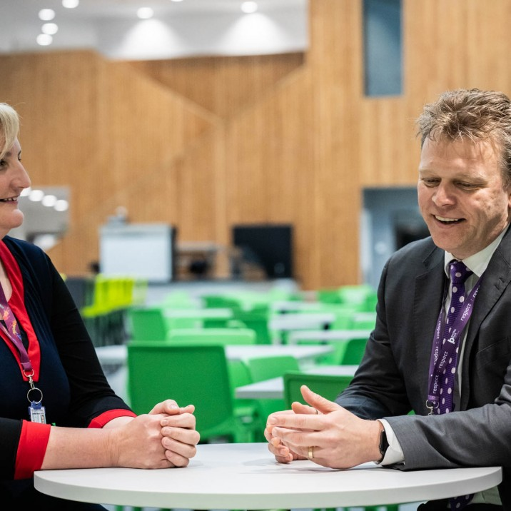 Convener of Perth & Kinross Council's Lifelong Learning Committee, Councillor Caroline Shiers, chats with Stuart Clyde in the new dining hall.