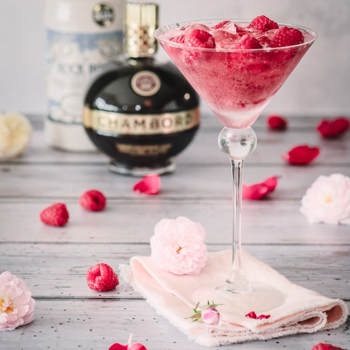 Rock Rose Gin Cocktail with Chambord and Raspberry
