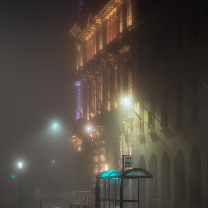 2 High Street captured during the midst of a foggy evening.