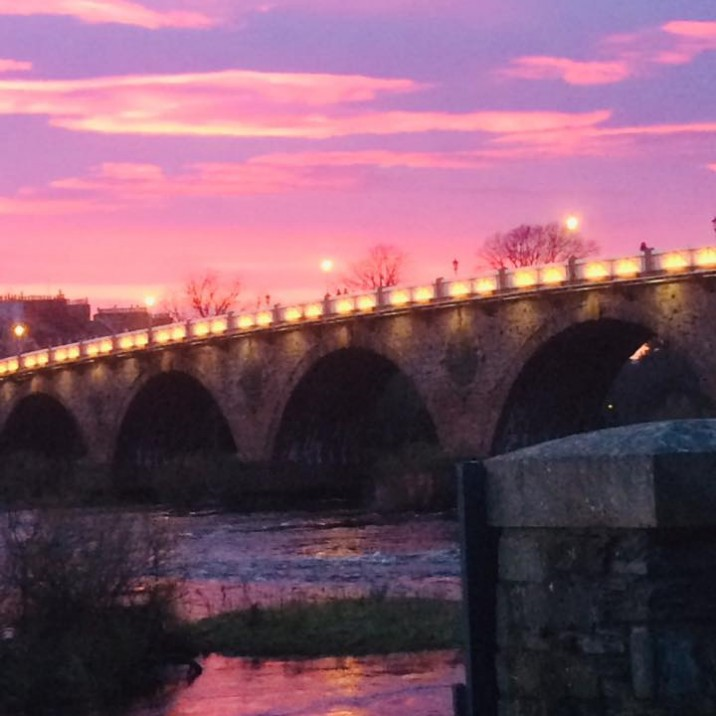 Alison Lewis - Pink Skies over Smeatons Bridge