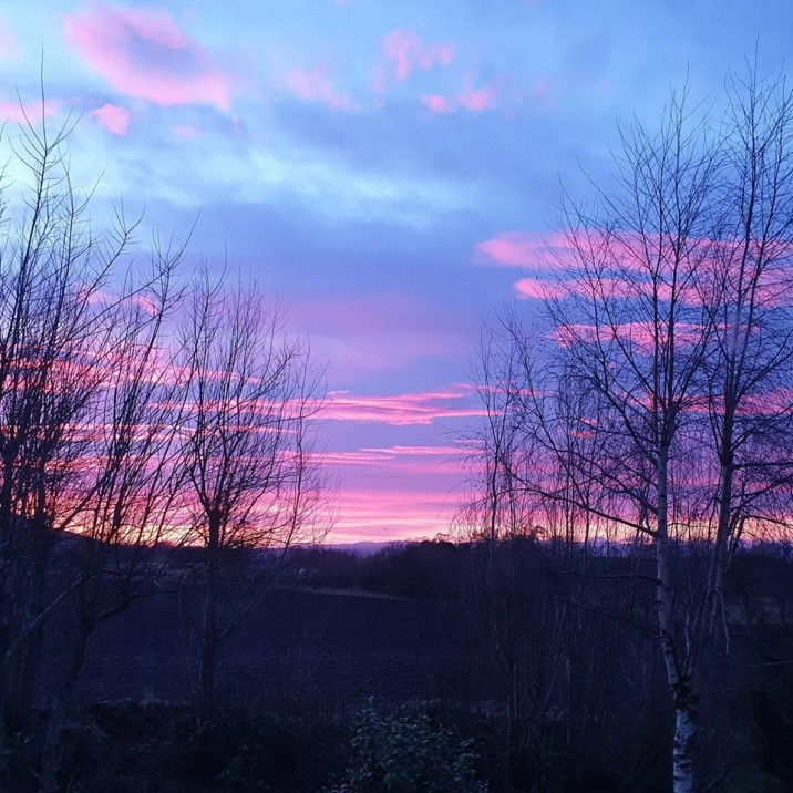 Beautiful violet, blue and orange sky over Perthshire with trees framing the gorgeous view.
